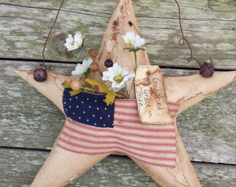 Primitive Americana Star With American Flag, Door Greeter,  Wall Hanging