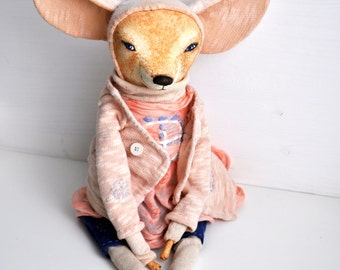 Fennec fox Fifi interior doll handmade plush ooak gift cute home decor doll miniatures figurine gift for her birdhday gift
