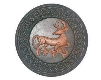 Celtic Stag Plaque Scottish Gift, Celtic Weave in wood effect finish
