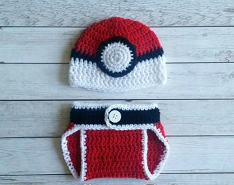Crochet Pokeball Baby Set, Pokeball Baby Set, Pokemon Baby Set, Pokemon Hat, Pokeball Hat, Pokeball Costume