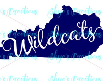 Kentucky Wildcats svg, ky state outline