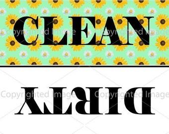 Sunflower Clean/Dirty Dishwasher Magnet | Flip It Dish Indicator | Stocking Stuffer | Housewarming Gift DM133