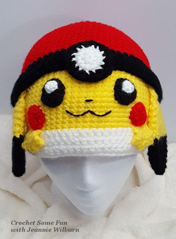 Pikachu Pokeball Inspired Pokemon Hat Crochet Pattern From