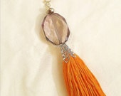 Orange embroidery floss tassel keychain with beads  boho keychain hippie key chain tassel key chain  orange tassel keychain  