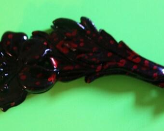 Vintage Plastic, Black and Red Flower Barrette