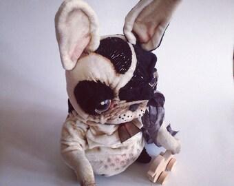 Teddy large, BigToy Handmade, Artist Doll, Ooak Artist Pug Custom Teddy Pug, Cute Animals, Plus Teddy Dog, Fabric Animals, Keepsak Teddy Dog