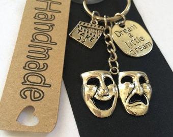 Drama Theatre Gift Keyring Bag Charm Masks
