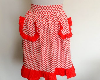 1970s Red White Polka Dot Apron Vintage