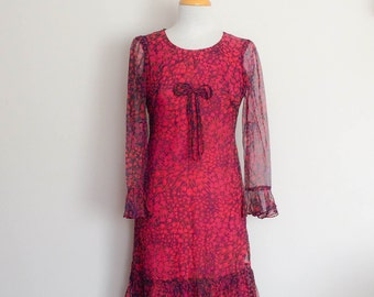 1960s Pink Handmade Floral Dress with Sheer Sleeves