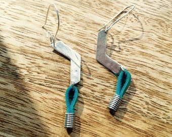 Southwestern chevron every day earrings in fine silver and leather