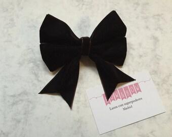 Bow L- Velvet Brown (hair accessories)