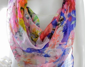 beautiful blue-pink,floral scarf, silk scarf, embellished scarf, handpainted
