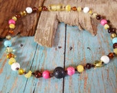 RAW amber teething necklace, teething toddler, teething baby, natural teething relief, natural baby, baby shower gift, pink and blue