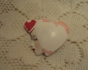 Vintage Mod Look Heart & Face Brooch Pastel Colors