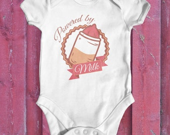 Powered By Milk baby bodysuit | baby girl clothes | baby shower gift | funny baby bodysuit | newborn baby clothes | cute baby clothes
