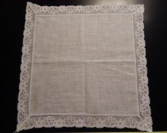 Vintage Cotton Lace trimmed Handkerchief