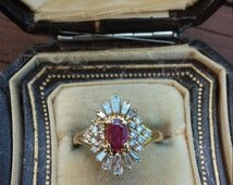 14k Gold 1.50ct Diamond Ruby Ballerina Wedding Engagement Cocktail Ring PRICE REDUCED