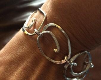 Hand-forged large link bracelet