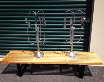 Pair of chrome waterfall lamps