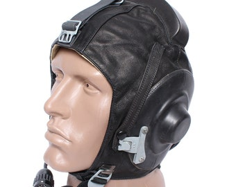 Black leather Aviation Helmet Soviet pilots, Aviation summer soft hat