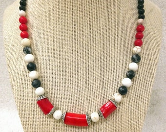 """Red & Black beaded necklace - 18"""" or 21"""". Red bamboo coral with black and white zebra stones, black jasper, and white howlite stones."""
