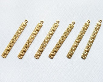 6 Raw Brass Diamond Etched Long Drops