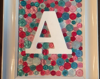 8x10 Framed Button Initial