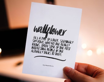 Wallflower - perks of being a wallflower, definition art, printable quotes, poster print