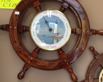 ships wheel tide clock