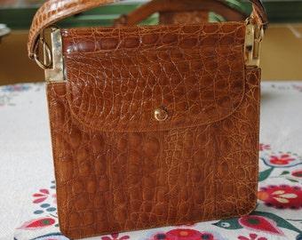 Handbag leather color camel 1960