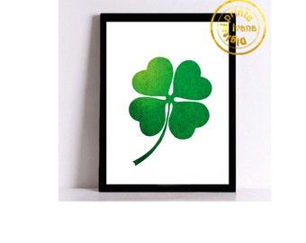 Printable art Digital Prints green clover for good luck modern wall art printable art, printable prints