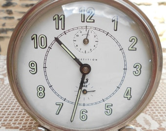 "Vintage French ""Jaz Repetition"" mechanical alarm clock,"