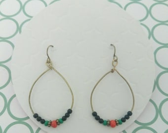 Bronze Loop Coloured Bead Earrings