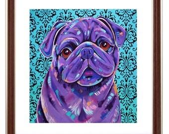 "Pug Dog Art Print - ""Boof"""