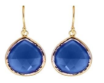 Blue Chalcedony Teardrop Earrings - Sterling Silver Gilded