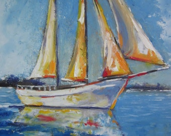 Original Oil Painting –Sunny Day, Seascape, Painting Original, Art , Impressionistic Oil on Wood panel