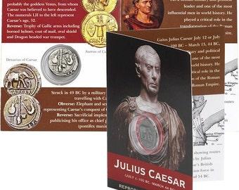 REPRODUCTION Roman coin, Julius Ceasar Denarius in information pack [SRCP1P]