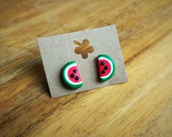 Watermelon fimo stud earrings