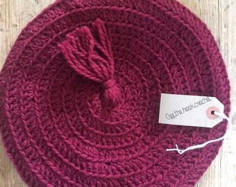 Wine Crocheted Beret