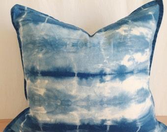 Shibori Style Indigo Dyed Pillow