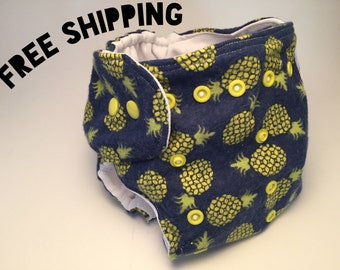 Diaper Cover, All-in-one / Potty Training Underwear, Pineapple Print, Absorbent, Adjustable, Preemie / Newborn / Toddler