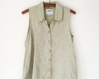 Vintage 90s Green Flax Linen Button Down Blouse - Petite