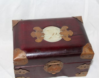 Vintage Asian Jewelry Box with Embedded Jade Decoration