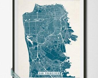 San Francisco Print, California Poster, San Francisco Poster, San Francisco Map, California Print, Street Map, Christmas Gift