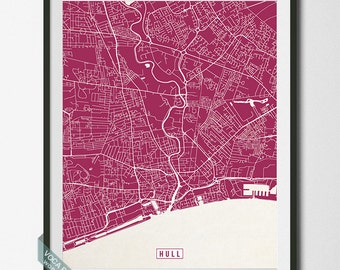 Hull Print, England Poster, Hull Poster, Hull Map, England Print, England Map, Kingston upon Hull, Street Map, Independence Day