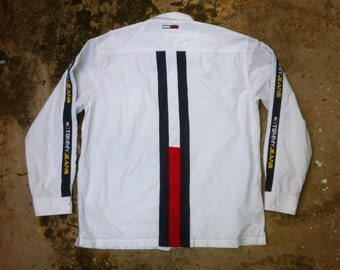 Free ship  Vintage 90's Tommy Jeans/Tommy Hilfiger Shirt Big Logo Big Flag/RL92/Polosport/Polo stadium/Raptee/Oldschool/Gear/Wutang/Nirvana