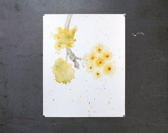 watercolor original painting | yellow blossom
