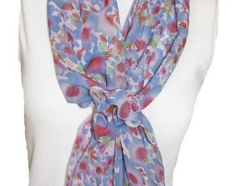 Blue and Pink Floral Scarf with Velcro Closure