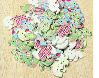 100pcs Diy multicoloured Elephant Wood Buttons
