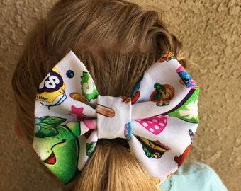 Shopkins white fabric hair bow